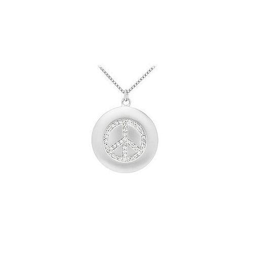Diamond Peace Pendant : 14K White Gold - 0.33 CT Diamonds