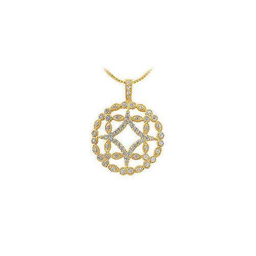 Diamond Floral Pendant : 14K Yellow Gold - 0.66 CT Diamonds