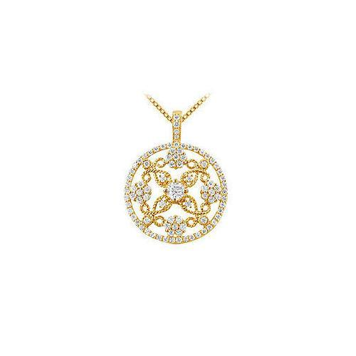 Diamond Circle Pendant : 14K Yellow Gold - 1.25 CT Diamonds