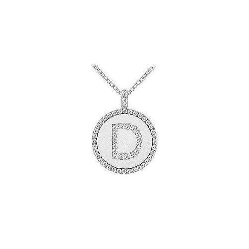 Diamond Initial D Disc Pendant : 14K White Gold - 0.55 CT TGW