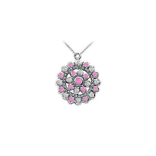 Pink Sapphire and Diamond Flower Pendant : 14K White Gold - 0.50 CT TGW