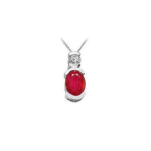 Ruby and Diamond Pendant : 14K White Gold - 1.50 CT TGW