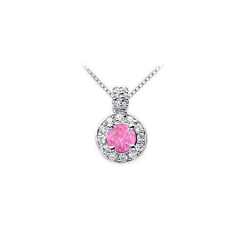 Pink Sapphire and Diamond Pendant : 14K White Gold - 1.25 CT TGW