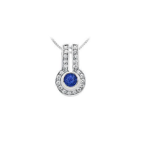 Sapphire and Diamond Pendant : 14K White Gold - 1.25 CT TGW