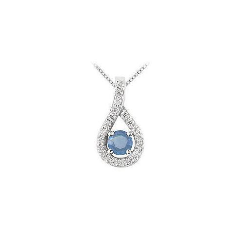 Sapphire and Diamond Pendant : 14K White Gold - 0.50 CT TGW