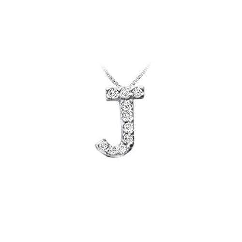 Classic J Initial Diamond Pendant : 14K White Gold - 0.10 CT Diamonds