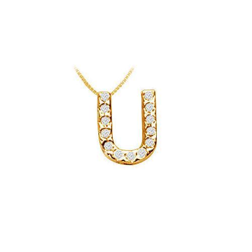 Classic U Initial Diamond Pendant : 14K Yellow Gold - 0.15 CT Diamonds