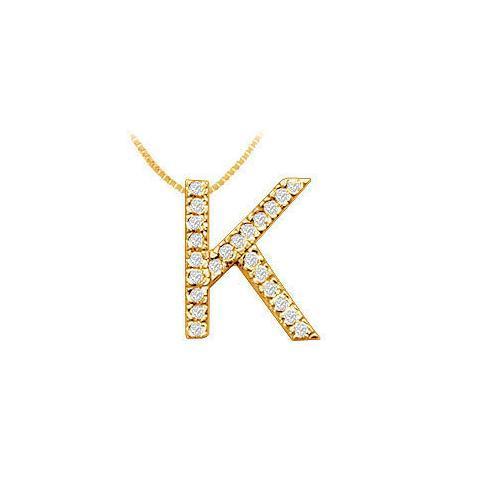 Classic K Initial Diamond Pendant : 14K Yellow Gold - 0.35 CT Diamonds