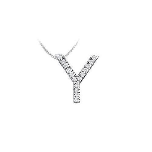 Classic Y Initial Diamond Pendant : 14K White Gold - 0.25 CT Diamonds