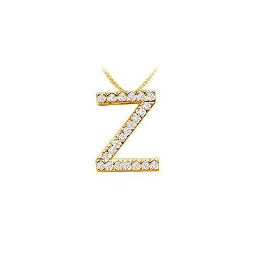 Classic Z Initial Diamond Pendant : 14K Yellow Gold - 0.33 CT Diamonds