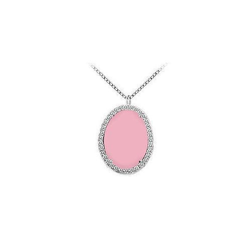 14K White Gold Pink Chalcedony and Diamond Pendant 16.00 CT TGW