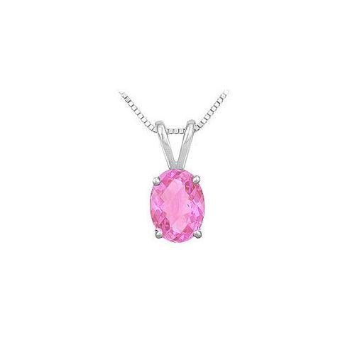 Pink Topaz Solitaire Pendant : 14K White Gold - 1.00 CT TGW