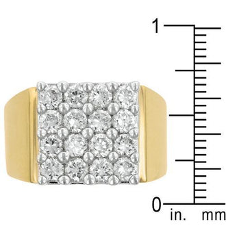 Pave Square Mens Ring