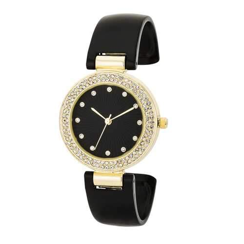 Black Cuff Crystal Watch