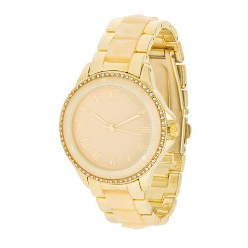 Cream And Gold Metal Crystal Watch