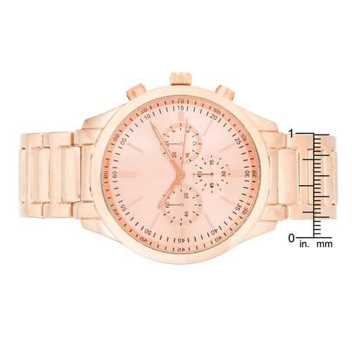 Chrono Rose Gold Metal Watch