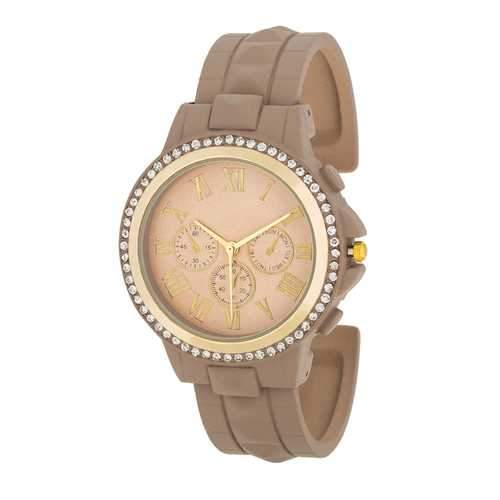 Ava Gold Taupe Metal Watch With Crystals