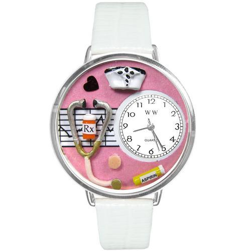 Nurse Pink Watch in Silver (Large)