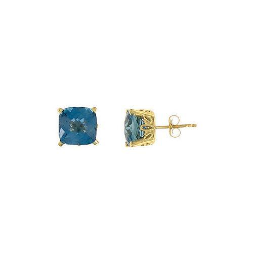 Blue Topaz Earrings : 14K yellow gold - 3.00 CT TGW