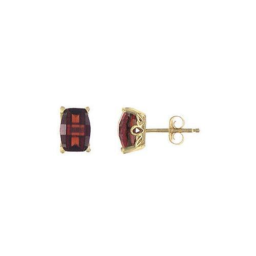 Garnet Earrings : 14K Yellow Gold - 1.25 CT TGW