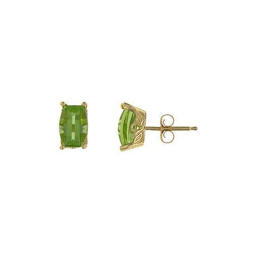 Peridot Earrings : 14K Yellow Gold - 1.00 CT TGW