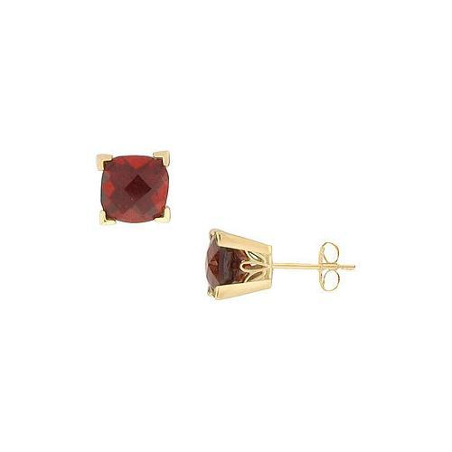 Garnet Earrings : 14K Yellow Gold - 1.66 CT TGW