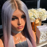 Blue And Purple Straight Lace Front Wig | 100% Lace Front Wig - Maxky Design
