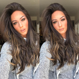 Black Wth Brown Long Hair Lace Front Wig | 100% Lace Front Wig