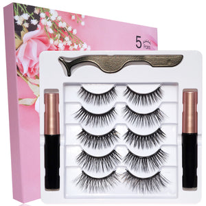 [Best Selling] 5 Pairs Magnetic Fake Eyelashes And 2 Pack Magnetic Eyeliner And Lashes Kit - Maxky Design