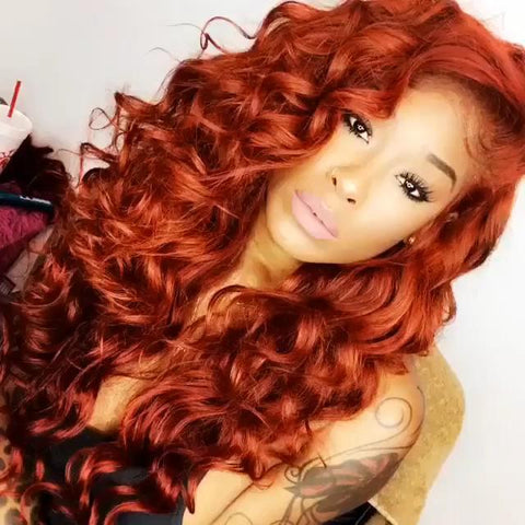 100% Lace wig-2019 orange red wig - Maxky Design