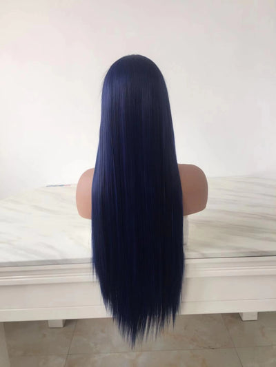 100% Lace Front Wig | 2020 Blue Straight Long Hair - Maxky Design