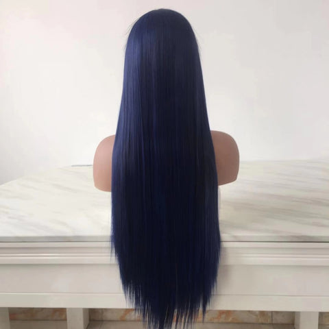 100% Lace wig-Blue Straight Long Hair - Maxky Design
