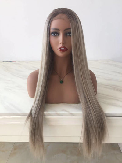 100% Lace wig-Milk white Straight long wig - Maxky Design