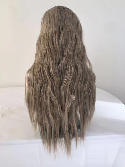 100% Lace wig-Milk white curl  long wig - Maxky Design