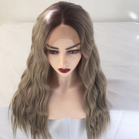 100% Lace Front Wig | Milk white curl  long wig - Maxky Design