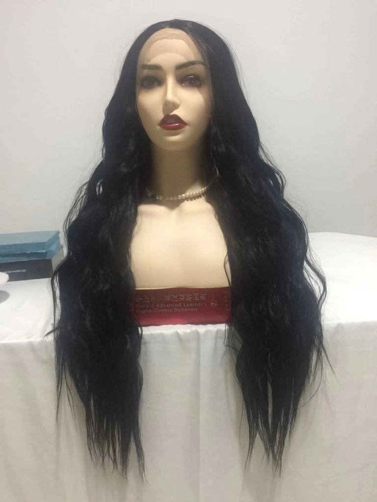 Black Wave Long Lace Front Wig | 100% Lace Front Wig - Maxky Design