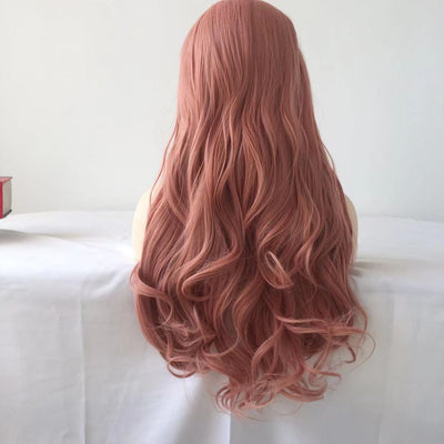 100% Lace wig-2019 Pink Long Wave Curly Wig - Maxky Design