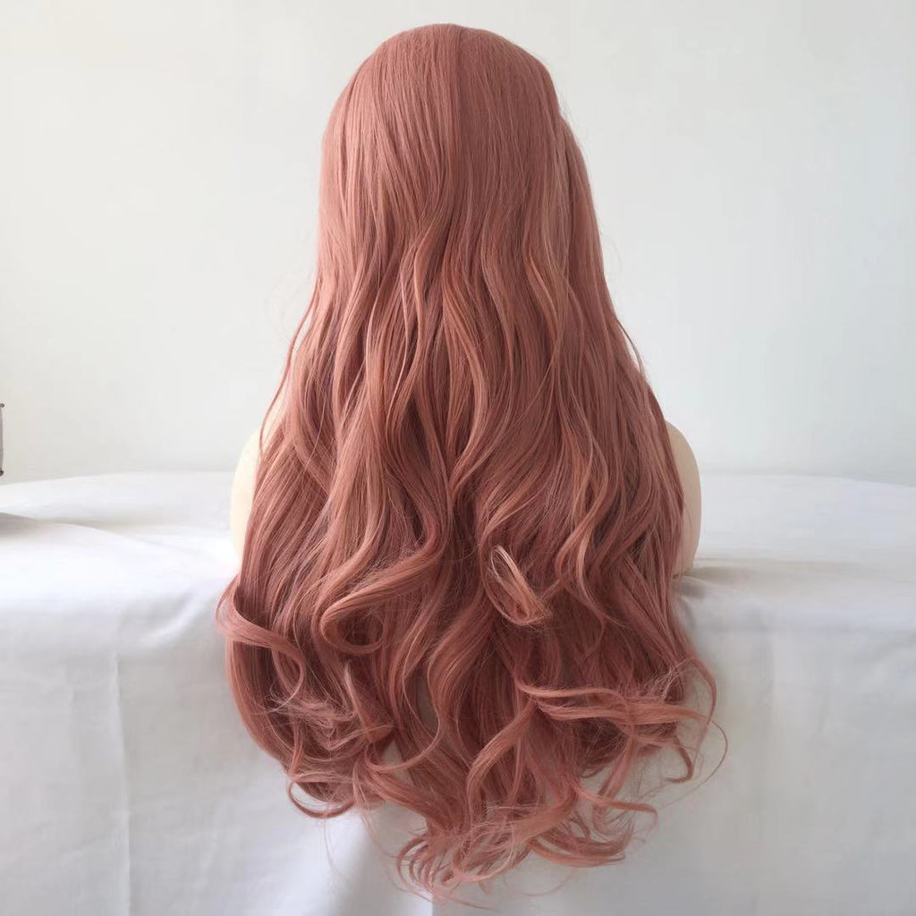 2020 Pink Long Wave Curly Lace Front Wig | 100% Lace Front Wig - Maxky Design