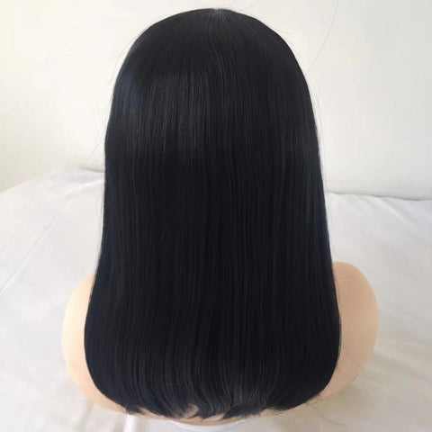 Black Straight Short Lace Front Wig | 100% Lace Front Wig - Maxky Design
