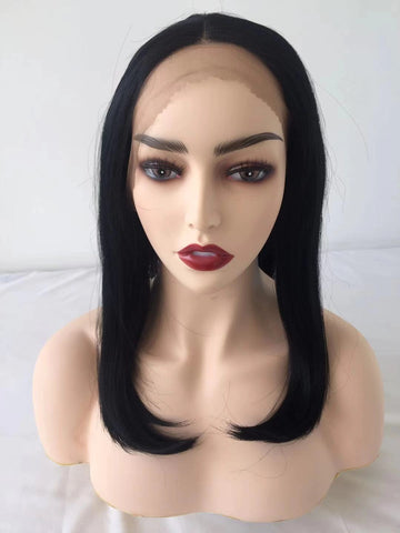 100% Lace wig-Black Straight Short Wig - Maxky Design