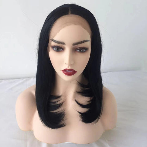 100% Lace Front Wig | Black Straight Short Wig - Maxky Design