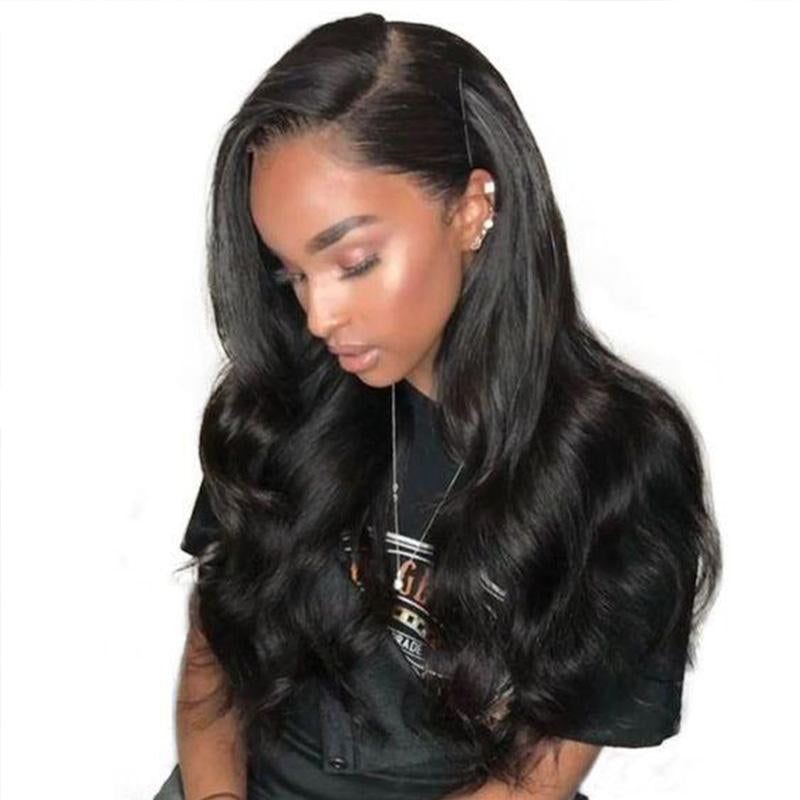 Wavy Style | Pre-Plucked Virgin Human Hair Lace Wig Natural Black Color | 100% Lace Front Wigs