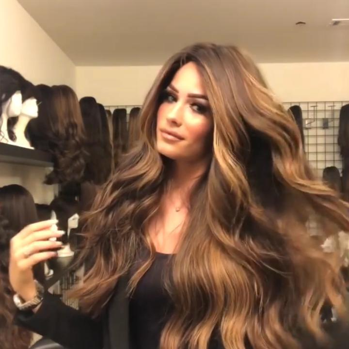 Gorgeous Brown Gradient Big Waves Lace Front Wig | 100% Lace Front Wig - Maxky Design