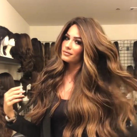100% Lace Front Wig | Gorgeous brown gradient big waves - Maxky Design