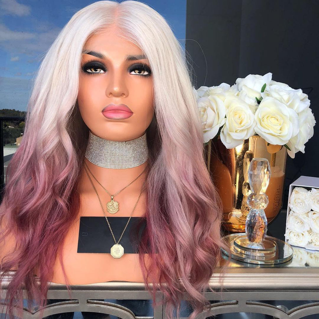 Beautiful White And Pink Lace Front Wig | 100% Lace Front Wig - Maxky Design