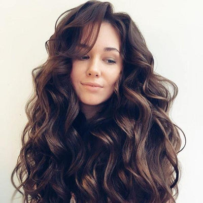 100% Lace wig-Big brown wave hair - Maxky Design