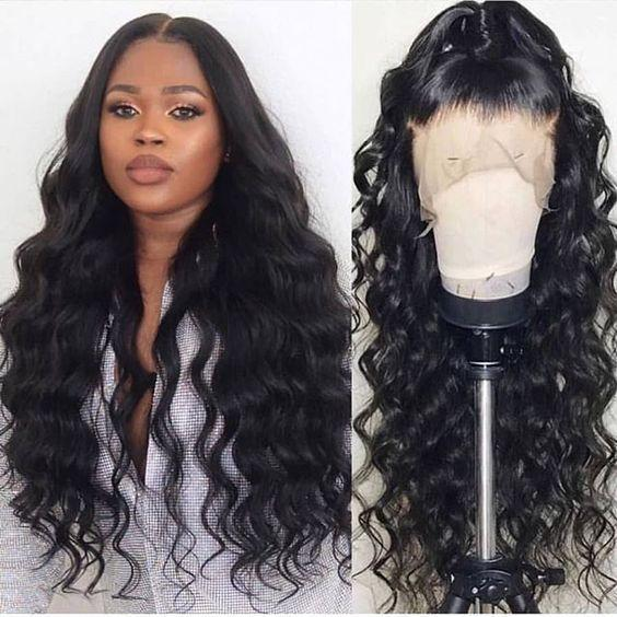 Loose Body Wave Human Hair Lace Frontal Wig Natural Black Full Lace Wig 8-26 inch Free Shipping | 100% Lace Front Wigs
