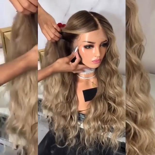 Champagne Long Lace Front Wig | 100% Lace Front Wig - Maxky Design