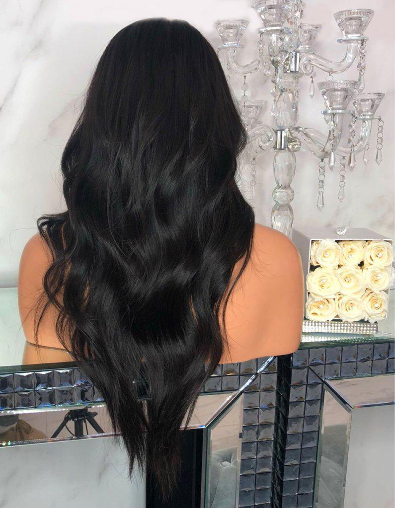 BLACK LONG CURLY LACE FRONT WIG | 100% Lace Front Wig - Maxky Design
