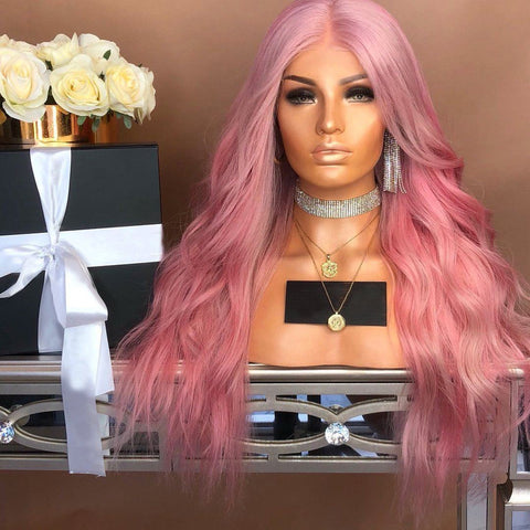 100% Lace Front Wig | Pink wavy long hair - Maxky Design
